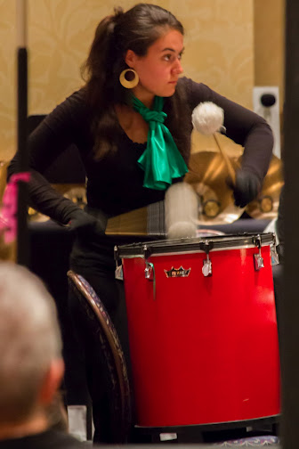 Playing bass drum during bell concert